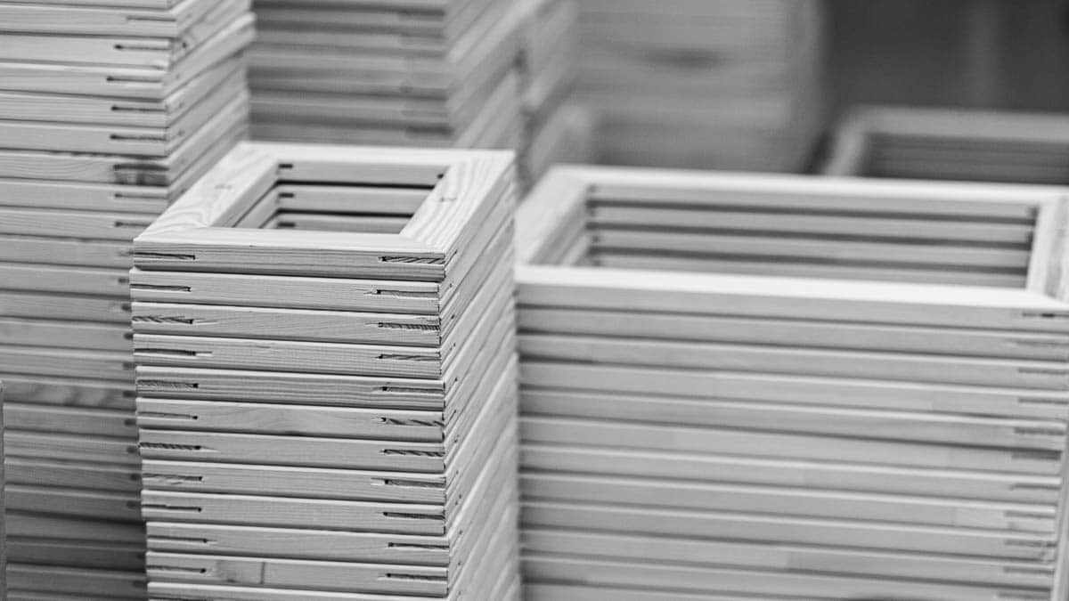 Mass production stretcher frame | Massenproduktion Keilrahmen