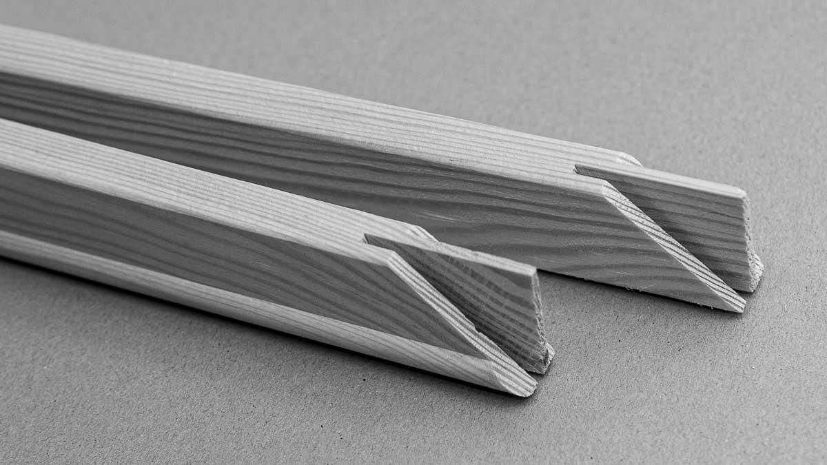 Bars for the frame assembly machine MHP PLUG with tongue and groove | Leisten für den Rahmensteckautomat MHP PLUG mit Schlitz und Zapfung